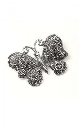 925 Ayar Gümüş Kelebek Motifli Broş ANYZK-BROS-009 Gümüş