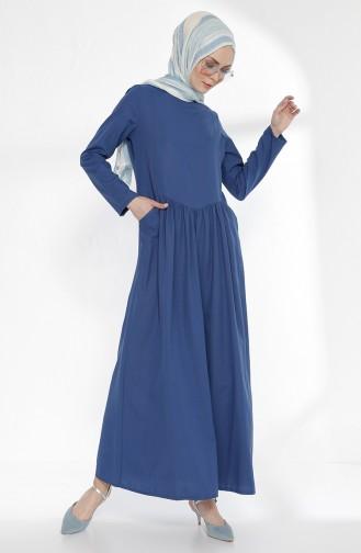 Cepli Büzgülü Elbise 3092-10 İndigo