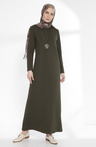 Robe avec Collier 2779-14 Vert Khaki Foncé 2779-14