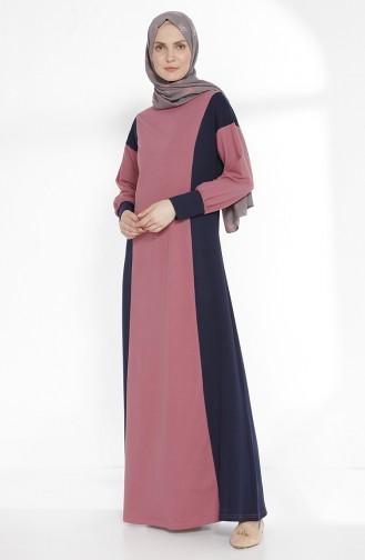TUBANUR Garnili Dress 2941-07 Dried Rose Navy Blue 2941-07