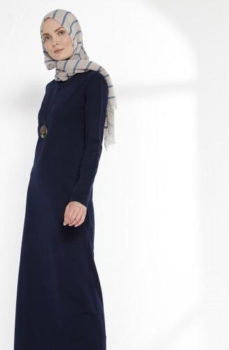 Kleid mit Halskette aus Zwei Garne Stoff 2779-02 Dunkelblau 2779-02