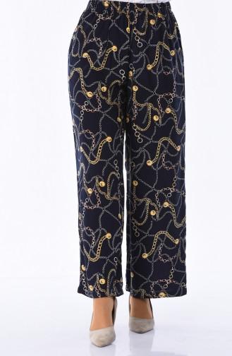 Pantalon Large a Motifs 25066-01 Bleu Marine 25066-01