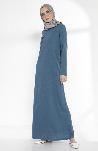 فستان بتفاصيل من الترتر 2979-12 لون زيتي 2979-12