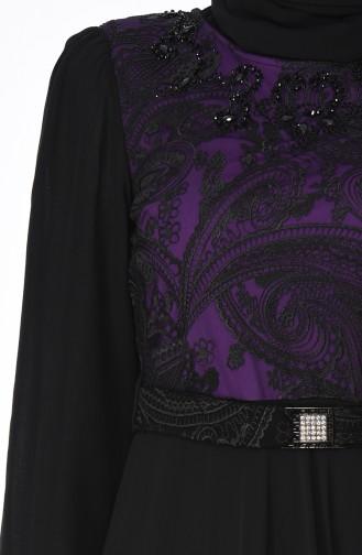 Dantelli Kuşaklı Elbise 7Y3715403-04 Mor Siyah