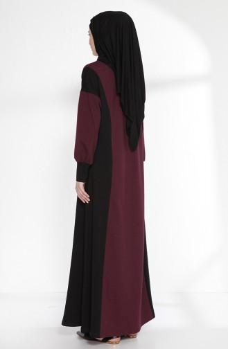Garnili Elbise 2941-02 Mürdüm Siyah