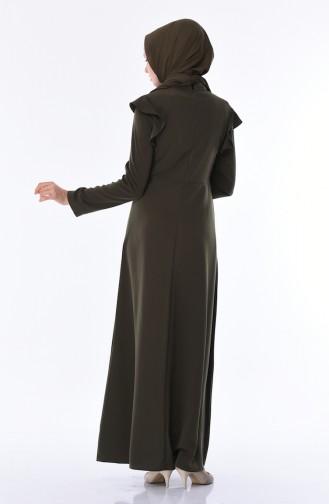 Khaki İslamitische Jurk 8042-02