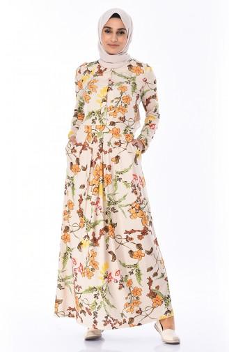 Gemustertes Kleid mit Plissee 5Y3528001-01 Beige 5Y3528001-01