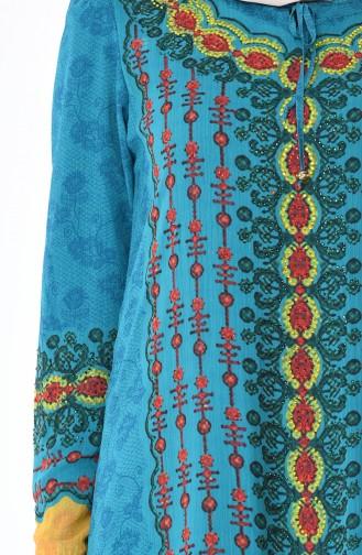 Taş Baskılı Şifon Elbise 6Y3608429-02 Petrol