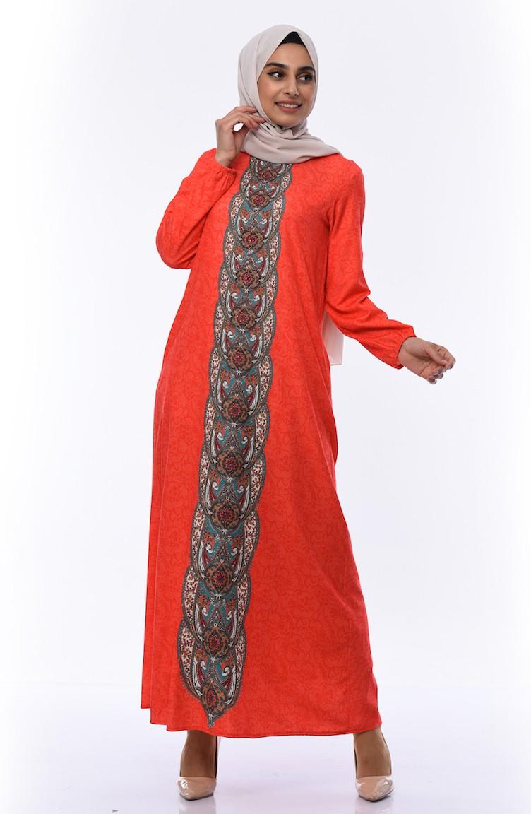 Bedrucktes Kleid mit Gummi 17Y31708430-17 Koralle 17Y31708430-17