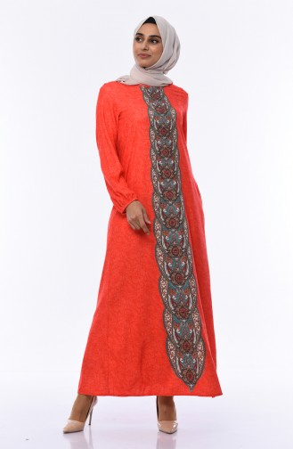 Kolu Lastikli Taş Baskılı Elbise 6Y3608430-02 Mercan