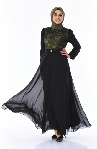 Dantelli Kuşaklı Elbise 7Y3715403-01 Haki Siyah