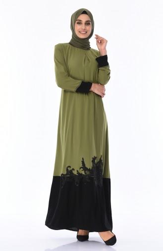 A Pile Dantel Detaylı Elbise 7Y3729100-02 Haki