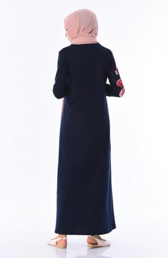 İki İplik Baskılı Elbise 5027-02 Lacivert