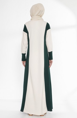 Robe Garnie 2941-15 Ecru Vert emeraude 2941-15