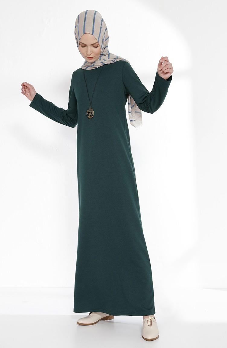 Couleur Vert Emeraude Foncé robe avec collier 2779-15 vert emeraude foncé 2779-15