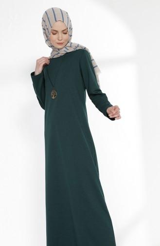 Robe avec Collier 2779-15 Vert emeraude Foncé 2779-15