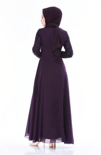 Robe de Soirée Détail Paillettes 52759-07 Pourpre 52759-07