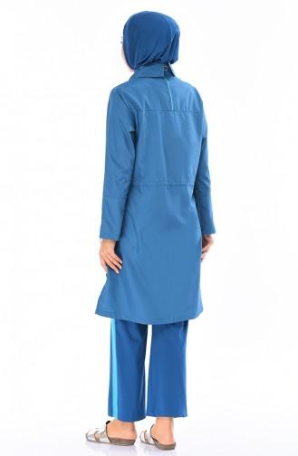 ملابس سباحة للمحجبات بتصميم مُزين بأشرطة 365-02 لون بترولي 365-02
