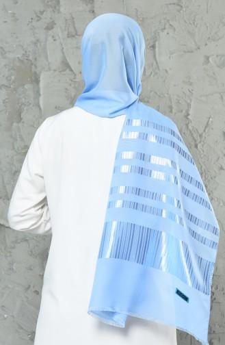 Châle Mousseline a Rayures 70137-08 Bleu Bébé 70137-08