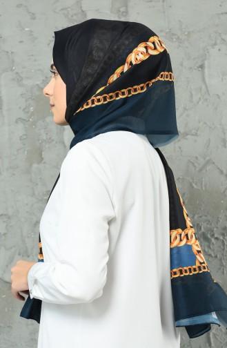 Desenli Pamuk Şal 95286-03 Siyah