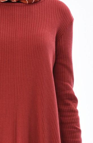 Fitilli Triko Tunik Pantolon İkili Takım 3309-23 Kiremit