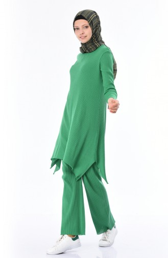 Fitilli Triko Tunik Pantolon İkili Takım 3309-25 Çimen Yeşili