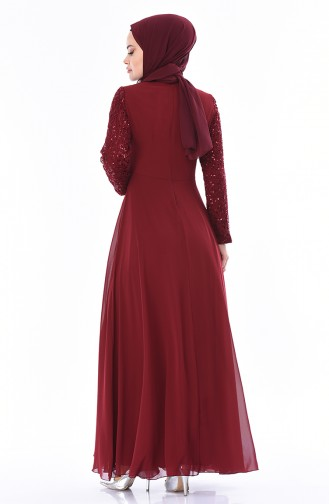Claret red Islamic Clothing Evening Dress 52759-05