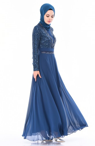 Oil Blue Islamic Clothing Evening Dress 52759-06