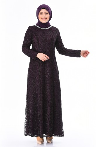 Büyük Beden Abiye Elbise 2055-02 Mor