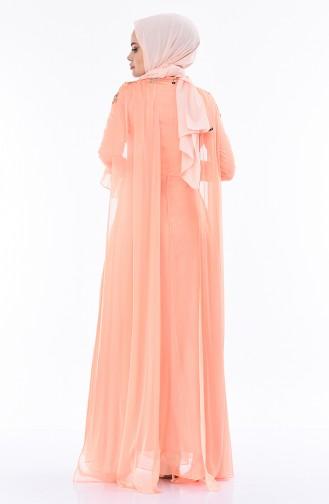 Robe de Soirée à Paillettes 4538-02 Saumon 4538-02