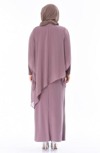 فساتين سهرة بتصميم اسلامي بيج داكن مائل الى الوردي 4007-07