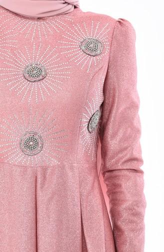 Dusty Rose Islamic Clothing Evening Dress 5008-01