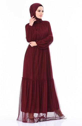 Gerafftes Tüll Abendkleid 5013-01 Weinrot 5013-01