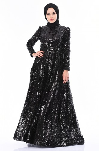 Black Islamic Clothing Evening Dress 5014-01
