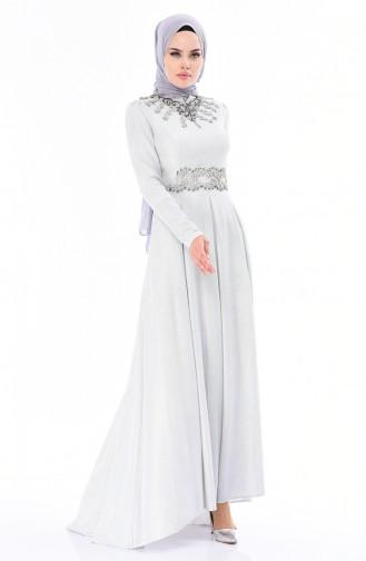 Steiniges Abendkleid 5062-01 Hell Grau 5062-01