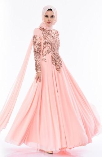 Sequined Evening Dress 5107-01 Salmon 5107-01
