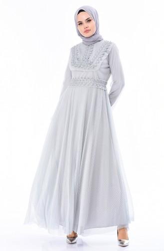 Gray Islamic Clothing Evening Dress 5142-01