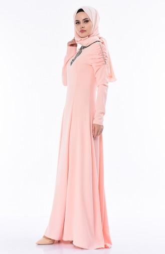 Steiniges Abendkleid 7055-02 Lachs 7055-02