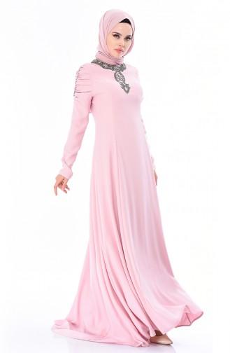 Robe de Soirée Perlées 7055-03 Poudre 7055-03