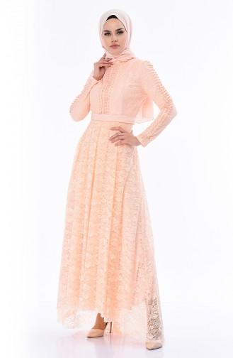 Robe de Soirée Perlées 8030-01 Saumon 8030-01