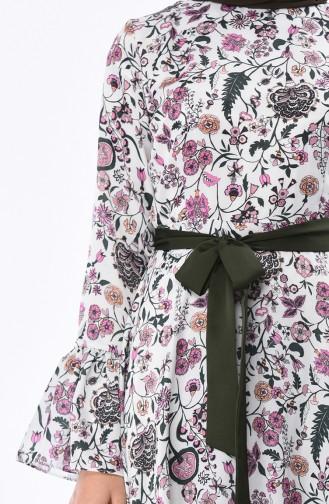 Desenli Kuşaklı Elbise 2002-01 Yeşil Beyaz