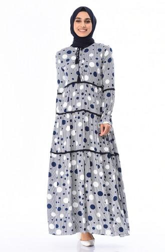 فستان أزرق كحلي 7250-01