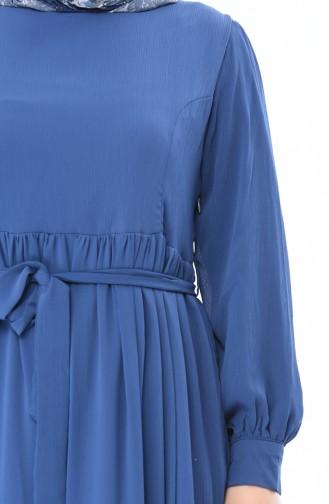Robe a Ceinture Grande Taille 7263-04 İndigo 7263-04