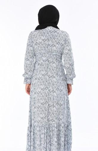 Grosse Grösse Gemustertes Kleid 7264A-01 Weiss Dunkelblau 7264A-01