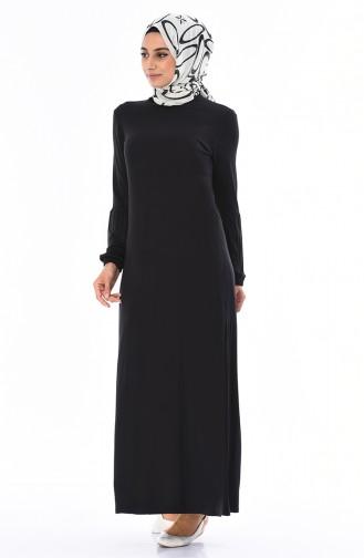 Gekammtes Kleid mit Gummi 8832-01 Schwarz 8832-01