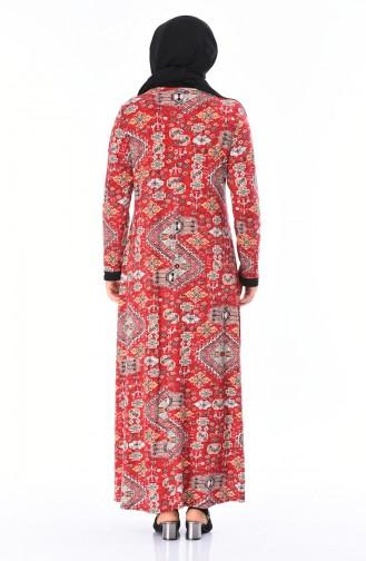 Grosse Grösse Gemusterte Kleid mit Band 4550A-01 Rot 4550A-01