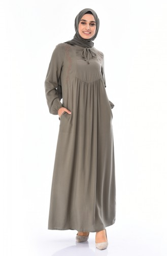 Light Khaki Green İslamitische Jurk 99200-04