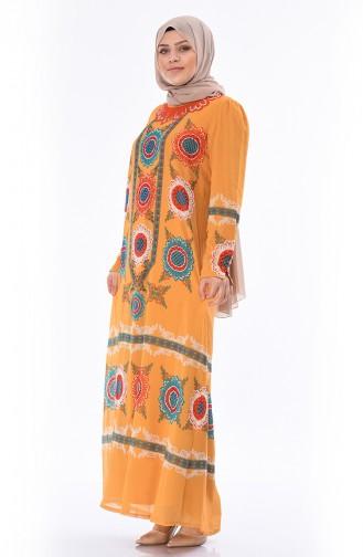 Grosse Grösse Chiffon Kleid 6Y3608425-02 Senf 6Y3608425-02