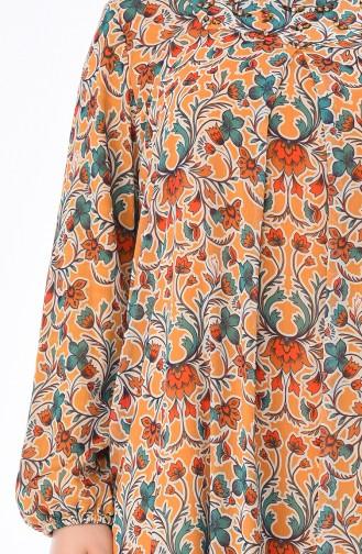 Grosse Grösse A Plissee Gemustertes Kleid 6Y3624700-01 Senf 6Y3624700-01