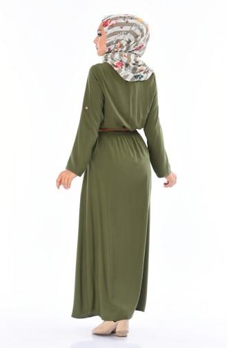 Sommerliches Kleid mit Gürtel 0690-04 Khaki 0690-04